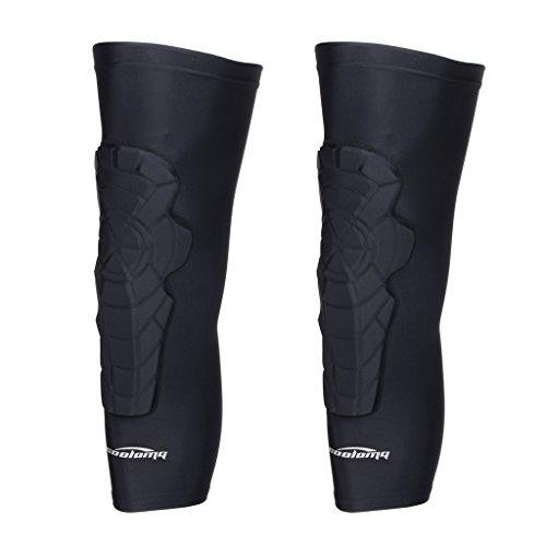 COOLOMG 2 Packs (1 Pair) Kids Adult EVA Pads Crashproof Basketball Leg Knee Long Sleeve Protector Gear Black X-Small