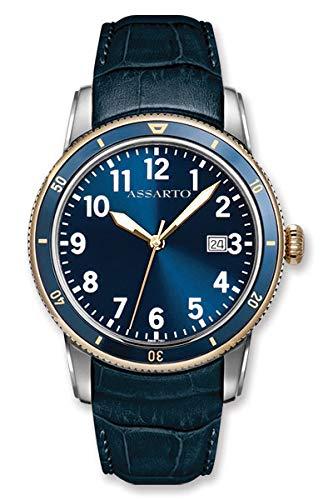 ASSARTO® Watches ASH-8830T/S-BLU Herren Taucheruhr aus der Oceantime-Serie Herrenuhr Edelstahl mit blauen Lederarmband und Schweizer Uhrwerk