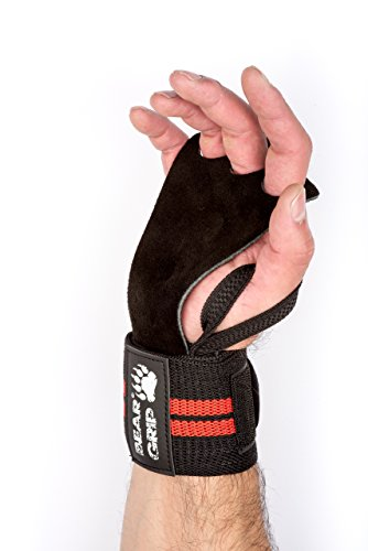 BEAR GRIP CROSSFIT Leather palm gloves protector wrist support wraps, Ideal for WOD Fitness, Weight lifting, Powerlifting, One Size Fits All Special Design