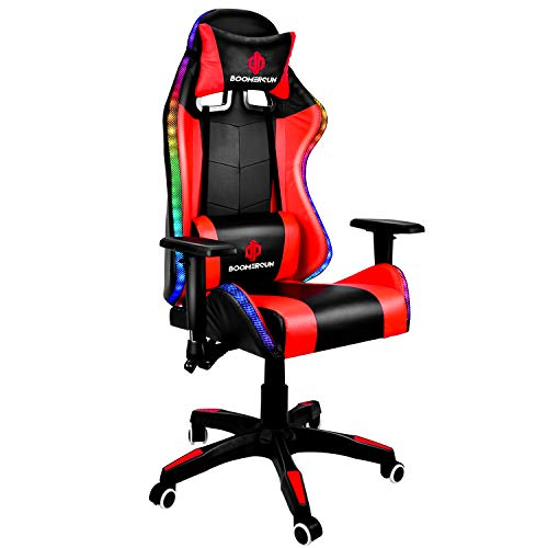 Boomersun Gaming Chair with RGB Light Ergonomic Office Chair Racing Style Backrest and Seat Height Adjustable 3D Armrests Swivel Computer Chair Video Game Chair with Headrest and Lumbar Support - Red