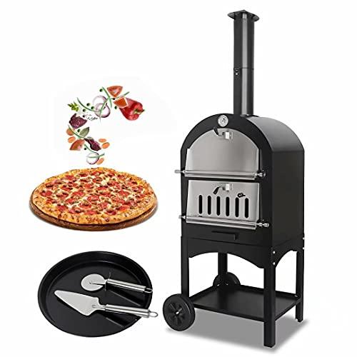 Horno de pizza al aire libre, horno de leña portátil para hacer pizzas, barbacoa, acero inoxidable, juego de bandejas para hornear, horno de pizza para jardín, ideal para cualquier espacio de jardín