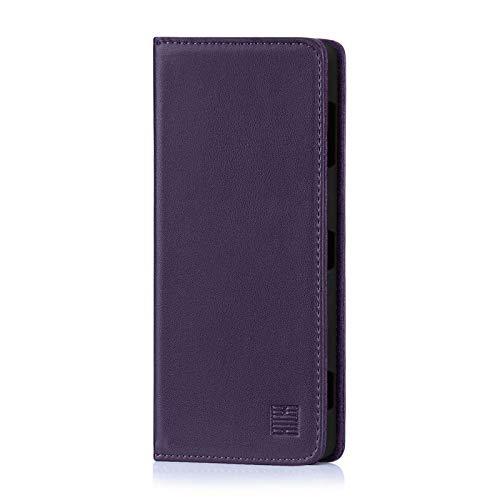 32nd Klassische Series - Lederhülle Hülle Cover für Sony Xperia XZ3, Echtleder Hülle Entwurf gemacht Mit Kartensteckplatz, Magnetisch & Standfuß - Aubergine