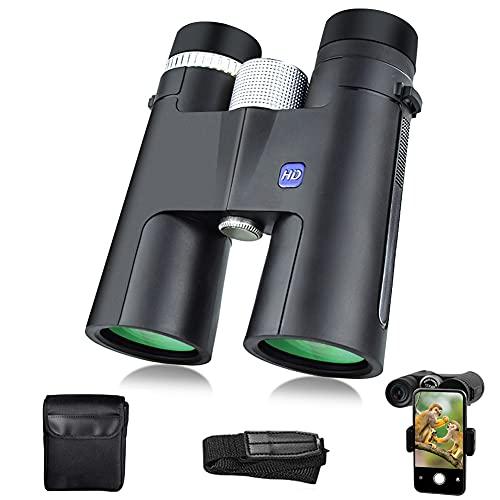 Prismáticos Profesionales,12x42 HD Prismaticos Vision Nocturna con Prismas BaK4 y FMC,Binoculares de Largo Alcance con Adaptador de Teléfono para Observación de Aves,Caza,Senderismo y Camping