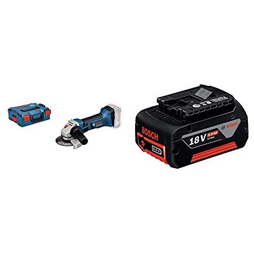 Bosch Professional 060193A308 18V System Meuleuse Angulaire sans-fil GWS 18-125 V-LI (10000 tr min, 125 mm, L-BOXX) Bleu & Batterie 18 V 5,0 Ah (Poids: 620 g, Boîte en Carton) Noir Rouge Norme 1
