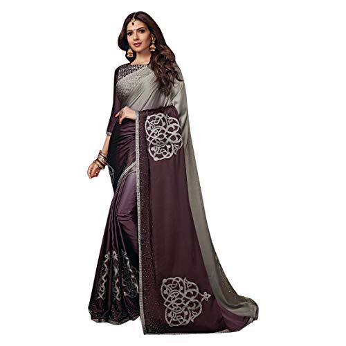 ETHNIC EMPORIUM vrouwen Klassieke Satijn Swarovski Stone Werk Saree Prachtige Blouse Sari Indiase Mode Vrouwen Party Formele 8112 6.25 mtrs Zoals getoond