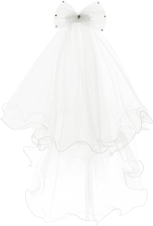 Sholeno Kids Girls First Communion Veils Bowknot Rhinestone Baptism Wedding Flower Girls Mantilla Headpiece