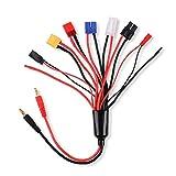 8 in 1 Ladegerät Adapter Stecker Splitter Kabel für RC Lipo Batterie Multi Ladegerät auf 4,0 mm Bananenstecker für TRX, EC3, JST, Futaba, XT60, T-Dean, DIY blanker Draht
