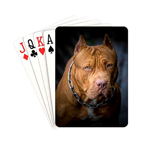 QIAOLII Playing Cards for Boys American Pit Bull Terrier Unique Playing Cards Unique for Kids & Adults Card Decks Games Standard Size