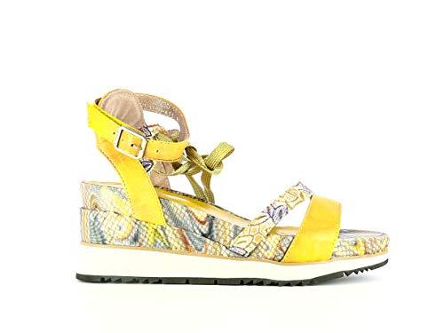 Laura Vita, Hecio 11, Damen Leder-Sandalen, City-Schuhe für den Sommer, bequeme Sohle – Stil Original Blumen, Gelb, Gelb - gelb - Größe: 37 EU