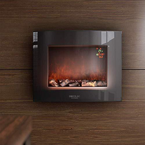 """Cecotec Chimenea eléctrica Ready Warm 2600 Curved Flames. Tamaño 26"""", máxima potencia 2000 W, 2 niveles de potencia, Área de cobertura de 25 m2, Mando a distancia, Panel curvo de cristal templado"""