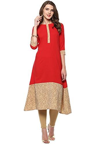 Janasya Indian Tunic Tops Crepe Kurti for Women (JNE2101-KR-210-M) Red