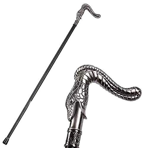 QHWJ Bastón para Hombres, 93 cm Metal gótico Serpiente Cabeza Elegante Caballero Decorativo bastón Bastones Cosplay Bastones,A