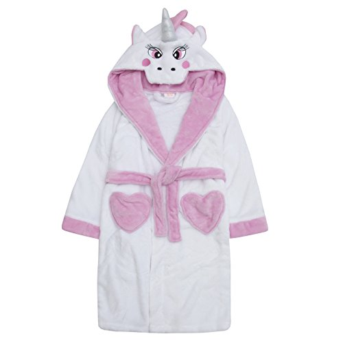 4Kidz Girls Novelty Unicorn Dressing Robe Hooded Fleece Warm Nightwear Gown Pink 7-8