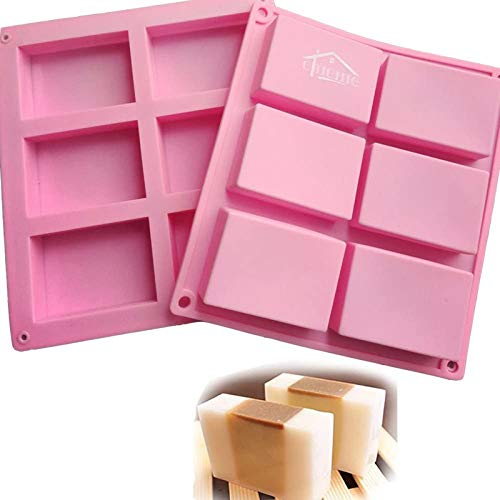 CHICHIC 2 Pack 6 Cavities Silicone Soap Mold, 6 Cavity DIY Soap Molds, Rectangle Baking Mold Cake Pan Biscuit Chocolate Mold, Ice Cube Tray, Premium Silicone Soap Bar and Resin Mold for Homemade Craft