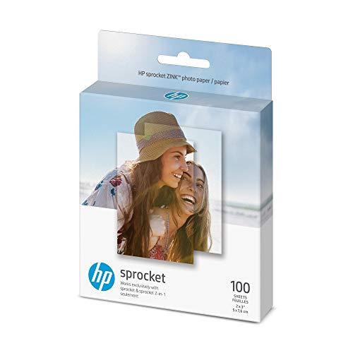 HP Sprocket Photo Paper - Papel fotográfico para piñón o piñón 2 en 1, 2 x 3 pulgadas, 100 hojas con reverso adhesivo (1DE40A) (renovado)