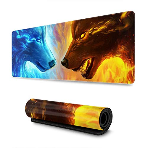 Cool Fire Ice Wolf Gaming Mouse Pad, Long Extended XL Mousepad Desk Pad, Large Non-Slip Rubber Mice Pads Stitched Edges, 31.5'' X 11.8''