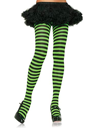 Leg Avenue Women's Nylon Striped Tights, Black/Lime, One Size