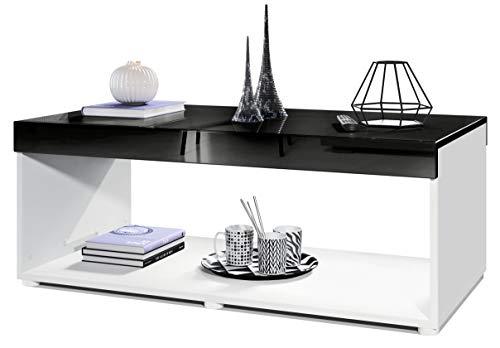 Vladon Couchtisch Wohnzimmertisch Pure mit Zwei großen Ablageflächen, Korpus in Weiß matt/Tischplatte und Blenden in Schwarz Hochglanz | Große Farbauswahl