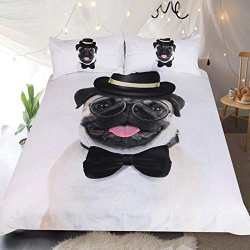 Duvet Covers Set White Double Size 78.7x78.7 inch Animal Dog,3 pcs Bedding Sets Super Soft Microfiber Fade Resistant and Hypoallergenic Quilt Cover + 2 Matching Pillowcase 19.7x29.5 inch