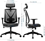 INTEY Bürostuhl Schreibtischstuhl ergonomischer Drehstuhl mit verstellbare Kopfstütze und Armlehnen, Höhenverstellung und Wippfunktion für Soho- oder Büroarbeit, Belastbar bis 150kg - 5