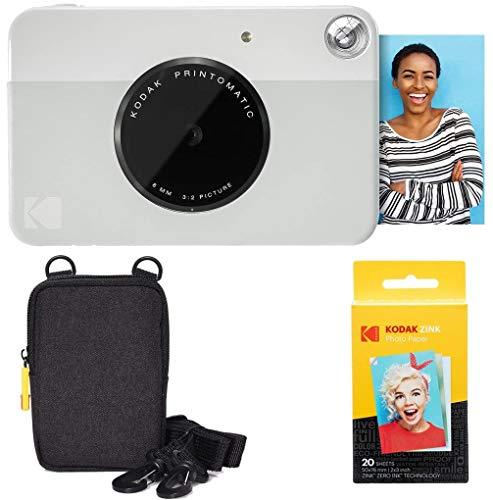KODAK: Paquete básico de cámara instantánea Printomatic (Gris) + Papel Zink (20 Hojas) + Funda cómoda