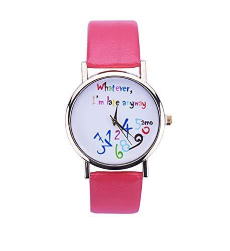 SAMGU Whatever I am Late Anyway Karikatur Uhr PU Lederne Frauen Armbanduhr Watch Wassermelone rot