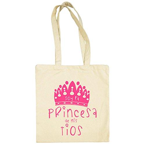 Diver Camisetas Bolsa de tela Soy la princesa de mis tíos - Beige, 38 x 42 cm