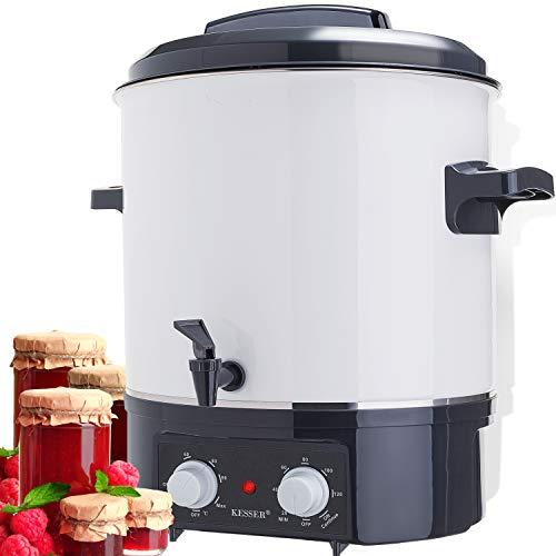 KESSER Einkochautomat 27 Liter Glühweinkocher Glühweinkessel mit Timer | 1800 Watt | Temperatur von 30-100°C | Zeituhr bis 120 Minuten | Abschaltautomatik Einkochvollautomat Glühweintopf