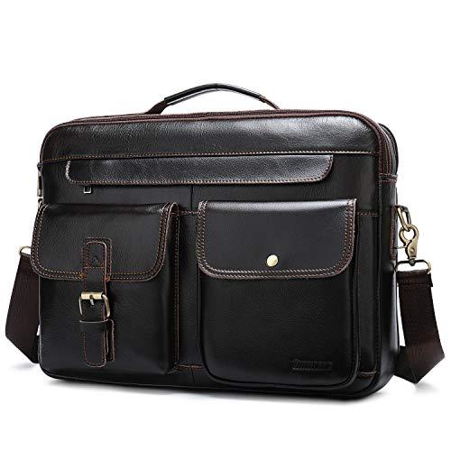 Businesstasche Herren Leder Aktentasche 15.6 Zoll Laptoptasche Männer Handtasche Vintage Schultertasche Umhängetasche Arbeitstasche - Kaffee Braun