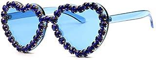 TYJYY Sunglasses Amour Coeur Forme Lunettes De Soleil Femmes Monture sans Monture Teinte Lentille De Strass Lunettes De So...