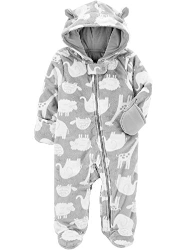 Simple Joys by Carter's Fleece Footed Jumpsuit Pram Traje de Nieve, Animales Grises, 0-3 Meses