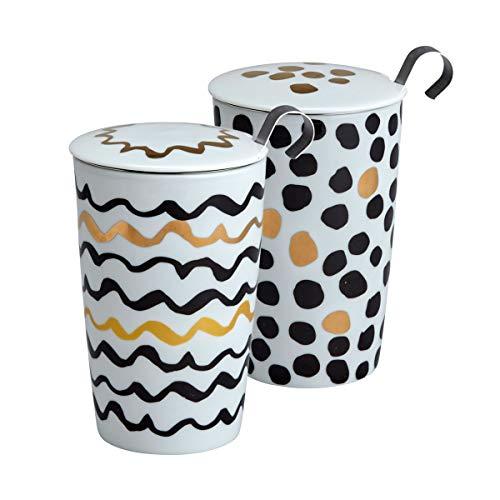 Eigenart Tasse à thé double paroi en porcelaine avec couvercle en porcelaine et infuseur à thé en acier inoxydable, 350 ml