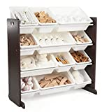 Humble Crew Modern Toy Organizer with 12 Bins, Espresso/White