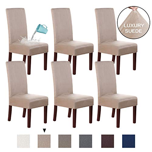 H.VERSAILTEX Suede Dining Room Chair Covers Dining Chair Slipcover Parsons Chair Slipcover Velvet Chair Covers for Dining Room Set of 6, Soft Stretch Removable High Back Chair Protector, Sand