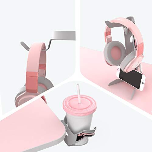 EUREKA ERGONOMIC Metal Gaming Accessories Bundle: Cup Holder, Headset Hook & Controller Game Rack (L, Grey)