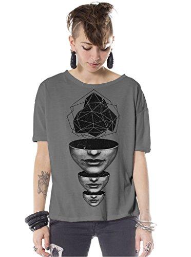 Damen Boxy Top Oversized Grau L T-Shirt Geometrisch Geist Abgrund Grafikdruck
