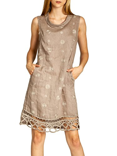Caspar SKL019 knielanges Damen Sommer Leinenkleid mit Kragen und aufgestickten Punkten, Farbe:Taupe, Größe:XL - DE42 UK14 IT46 ES44 US12