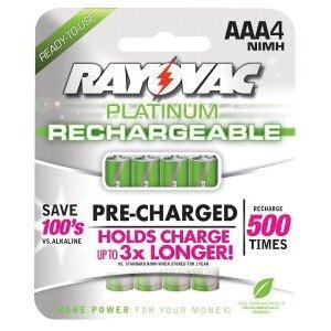 Platinum Pre-Charged Rechargeable Batteries, NiMH, AAA, 4 per pack
