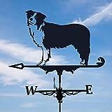 NULINULI Wetterhahn Dach Retro Wetterhahn Halterung GußEisen Windrichtungsanzeiger Windspiel Wetterfahne Betreff Dach Dekofigur Hof Ornament Dekoration Border Collie