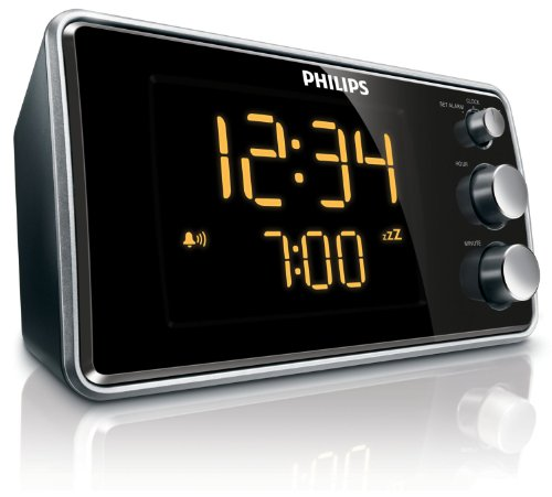 Philips AJ3551 Digitaler Radiowecker (FM-Tuner, LED-Anzeige) schwarz/silber