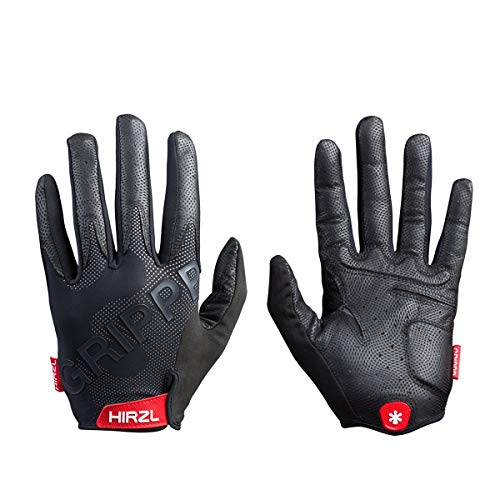 HIRZL Grippp Tour FF 2.0 Leather Bike Gloves, Black, Full Finger, Breathable, Foam Padded, Anti-Slip, Sweat and Water Resistant, Ergonomic, Durable, MTB, Road, Mountain, Cycling, Swiss, Medium