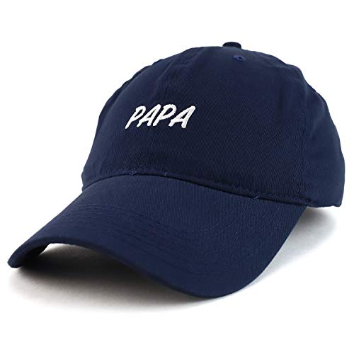Trendy Apparel Shop Papa Embroidered Soft Crown 100% Brushed Cotton Cap - Navy