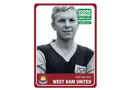 Score Draw Official Retro West Ham United 1958 Number 6 Men's Retro Football Shirt - Claret and Sky, X-Large