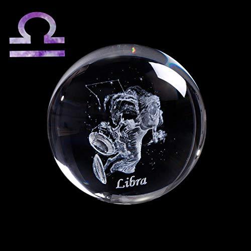 3D sterrenbeeld Kristallen bol Lasergegraveerde glazen bol Crystal Craft Home Decor Verjaardagscadeau Ornament, Weegschaal, 60 Met zilveren voet