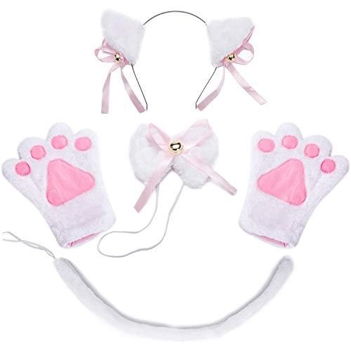 Costume Cat Cosplay Set - 4Pcs Kitten Tail Ears Collar Paws Gloves Lolita Gothic Set (White)
