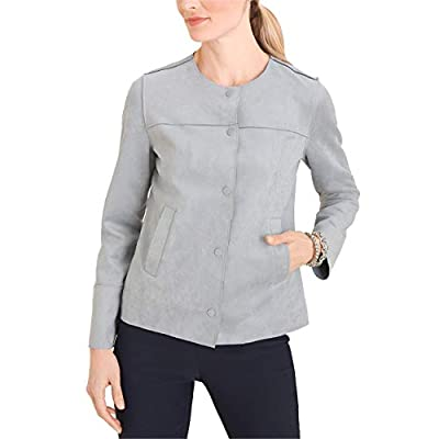 Chico's Women's Faux Scuba Suede Stretch Snap Button Jacket with Slant Pockets, 2, Gray Mist by CHICO'S