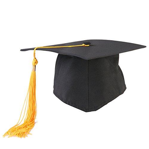 PIXNOR Adultes réglable Graduation chapeau Bonnet avec pompon (jaune + noir)