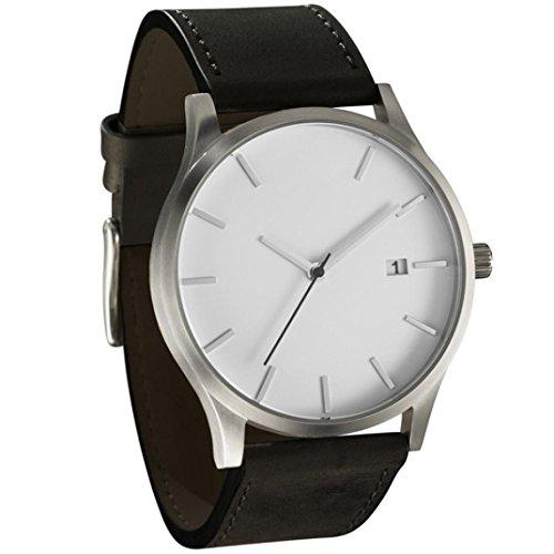 cinnamou Herrenuhren - Business Quarz Uhr - Leahter Analog Quarzuhr Männer Business Kleid Armbanduhr Herren Wasserdichte Sportuhr (B)