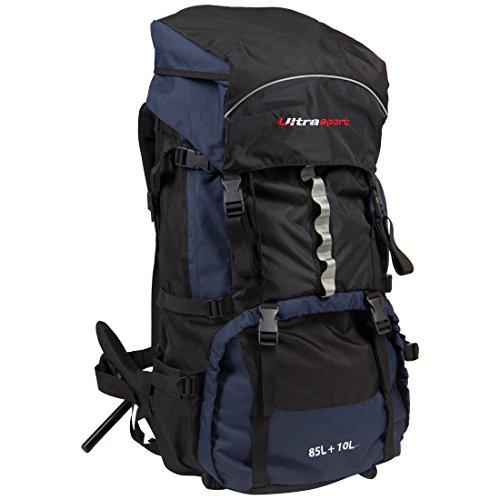 Ultrasport Mochila de senderismo con compartimento principal de 85 l y bolsillo adicional de 10 l, ideal para travesías, con funda impermeable y correa de pecho, tamaño total vacía 80x34x30 cm aprox.