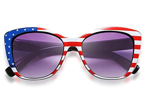FEISEDY Polarized Vintage Sunglasses American Square Jackie O Cat Eye Sunglasses B2451 (American flag, 56)